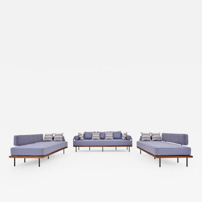 Pieter Compernol Stephanie Grusenmeyer Jerome B rrier Bespoke Three Seat Outdoor Sofa Set Reclaimed Wood Brass Frames P Tendercool