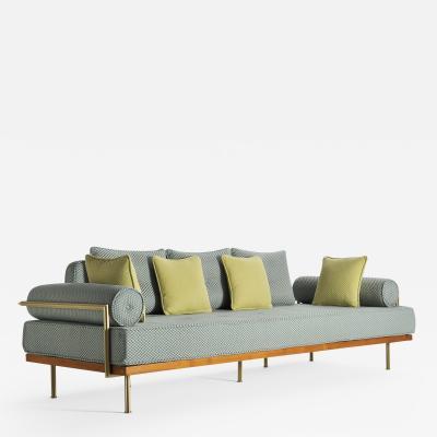 Pieter Compernol Stephanie Grusenmeyer Jerome B rrier Mid Century Modern Style Sofa Reclaimed Hardwood Brass Frames by P Tendercool
