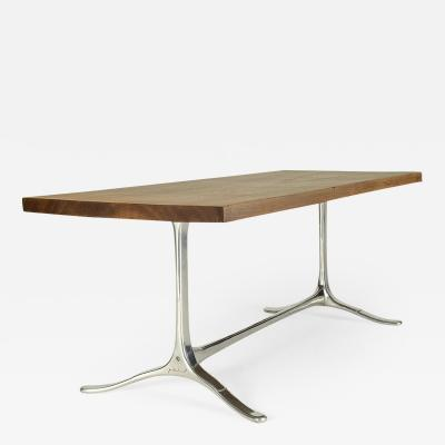 Pieter Compernol and Stephanie Grusenmeyer Antique Hardwood Desk with Aluminium Sand Cast Base by P Tendercool In Stock
