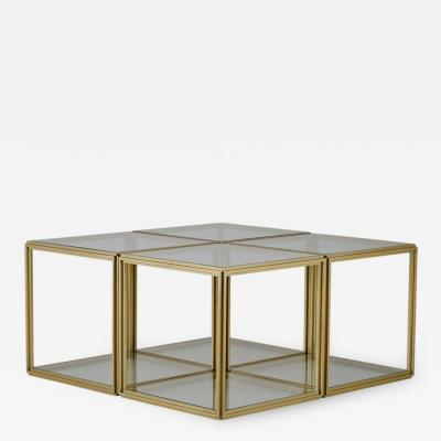 Pieter Compernol and Stephanie Grusenmeyer Cubist Set of Four Brass Low Tables and Transparent Glass Tops by P Tendercool