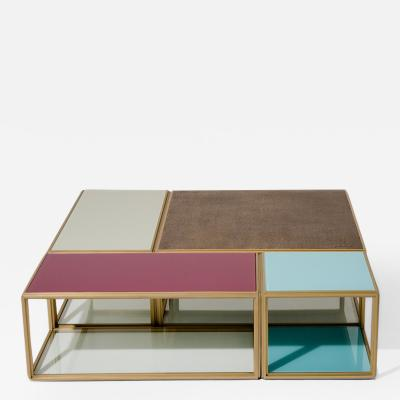 Pieter Compernol and Stephanie Grusenmeyer Modular Bronze Brass Glass Low Table by P Tendercool