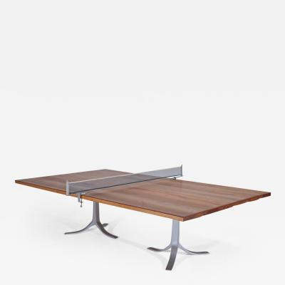 Pieter Compernol and Stephanie Grusenmeyer Ping Pong Table Reclaimed Hardwood Sand Cast Base by P Tendercool In Stock