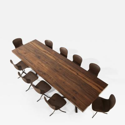 Pieter Compernol and Stephanie Grusenmeyer Ten Top Dining Table Reclaimed Wood Brass Matching Chairs by P Tendercool
