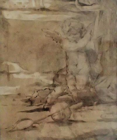 Pieter De Witte Charming 2 Sided Ink And Brown Wash Drawing of Putti By Pieter De Witte