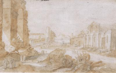 Pieter Stevens View of Rome with Figures