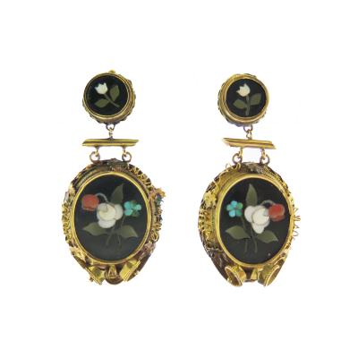 Pietra Dura Gold Drop Earrings