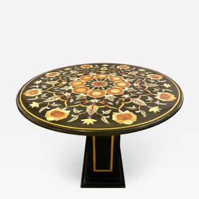 Pietra Dura Marble Top Dining or Center Table Arts Crafts Movement