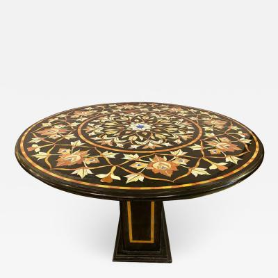 Pietra Dura Marble Top Dining or Center Table with Pedestal