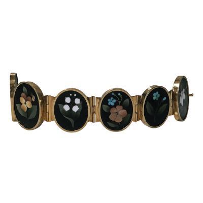 Pietra Dura Very Fine 19th Century Gold Pietra Dura Bracelet Italy C 1875