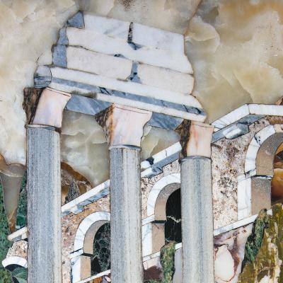 Pietre Dure Panel Depicting the Temple of Castor Pollux