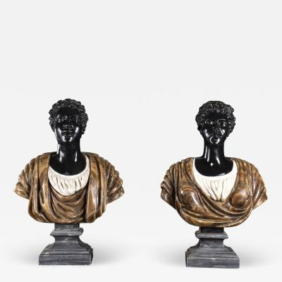 Pietro Calvi Pair of Marble Busts of Moors By Pietro Calvi in Belgium Black and Specimen Onyx