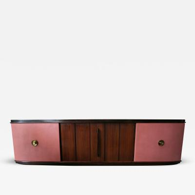 Pietro Chiesa 1940s Pietro Chiesa Rosewood and Leather Sideboard Cabinet