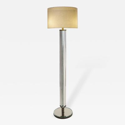 Pietro Chiesa Attributed An Italian Patinated Brass and Mirror Glass Floor Lamp
