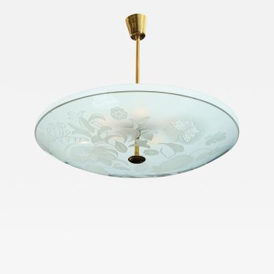 Pietro Chiesa Etched Glass Ceiling Fixture by Pietro Chiesa for Fontana Arte
