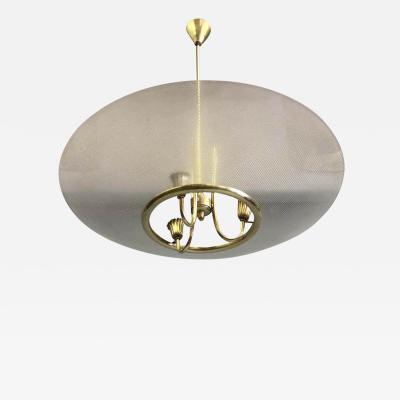 Pietro Chiesa Italian Modern Neoclassical Brass Glass Pendant by Pietro Chiesa Fontana Arte