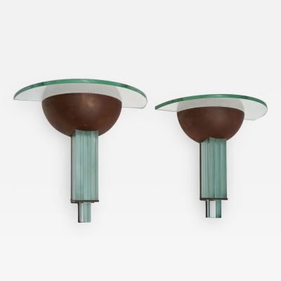 Pietro Chiesa Pair of Art Deco Copper and Glass Sconces by Fontana Art Attributed to Chiesa