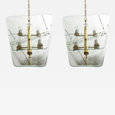 Pietro Chiesa Pair of Italian Modern Brass and Etched Glass Chandeliers Pendants Pietro Chiesa