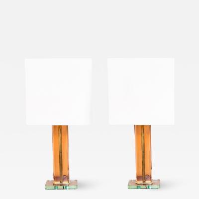 Pietro Chiesa Pair of rare Table lamps by Pietro Cheese Prod Fontana Arte Italy circa 1940