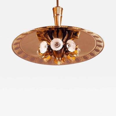 Pietro Chiesa Pietro Chiesa for Fontana Arte Amber Glass Chandelier 1940s