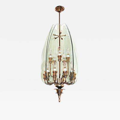 Pietro Chiesa Pietro Chiesa for Fontana Arte Glass and Brass Chandelier