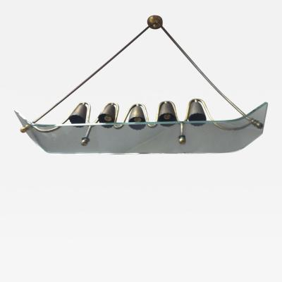 Pietro Chiesa Pietro Chiesa for Fontana Arte Ski Shaped Glass and Brass Chandelier