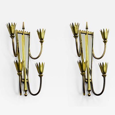 Pietro Chiesa Pietro chiesa pair of mirrored arrow gold bronze sconces
