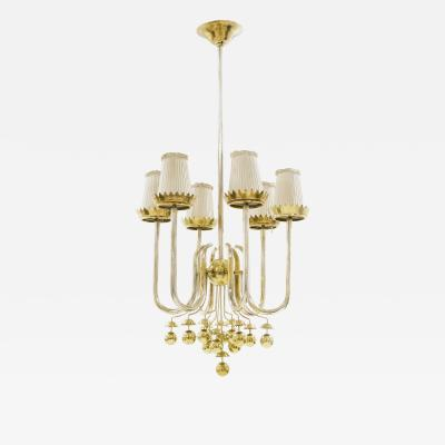 Pietro Chiesa Rare brass chandelier by Pietro Chiesa circa 1940