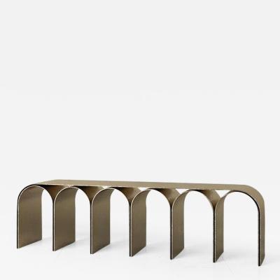 Pietro Franceschini Brass Gold Arch Bench by Pietro Franceschini