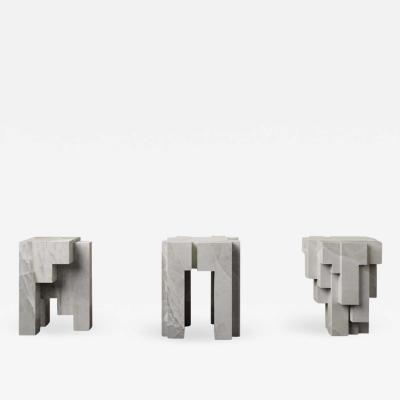 Pietro Franceschini Ensemble of 3 White Onyx Sculpted Side Tables Stools by Pietro Franceschini