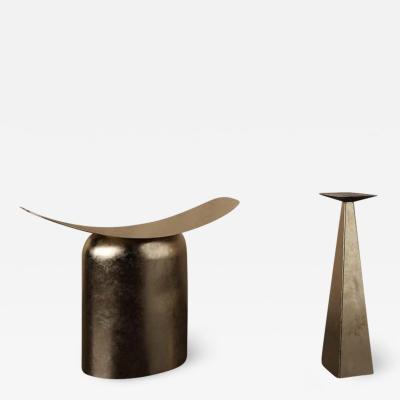 Pietro Franceschini Pair of Contemporary Aged Brass Gu ridon and Stool by Pietro Franceschini