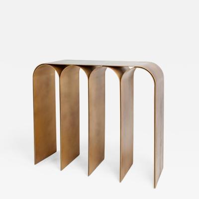 Pietro Franceschini Solid Brass Gold Arch Console by Pietro Franceschini