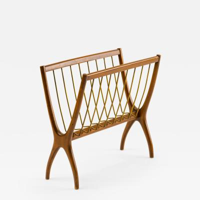 Pietro Maffeis 1950s Italian Modern Magazine Rack in Wood and Brass by Pietro Maffeis