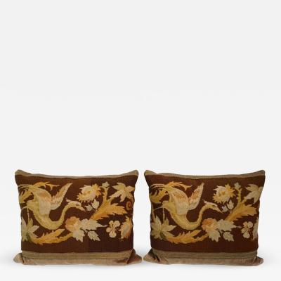 Pillows with Antique Needlepoint Pair