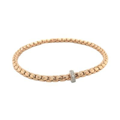 Pink Gold 18 K and White Gold Timeless Stretch Bracelet with diamonds