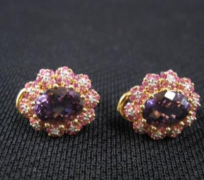 Pink Sapphire Amethyst Diamond Earrings 18k YG