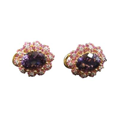 Pink Sapphire Amethyst Diamond Earrings 18k YG