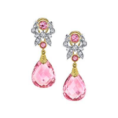 Pink Tourmaline Briolette Spinel and Diamond Earrings 18 Karat Gold