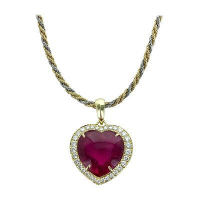 Pink Tourmaline Heart Shape on Diamond and Gold Pendant Necklace