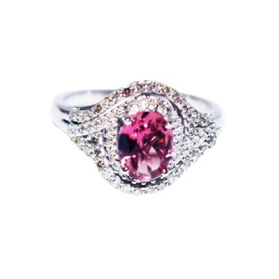 Pink Tourmaline and Diamond Ring in 14KT White Gold