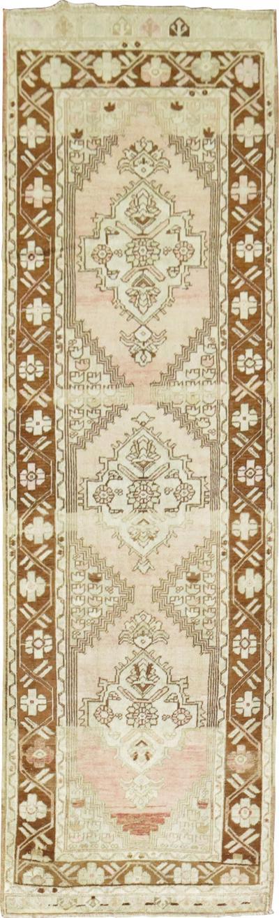Pink Turkish Oushak Runner rug no 27595
