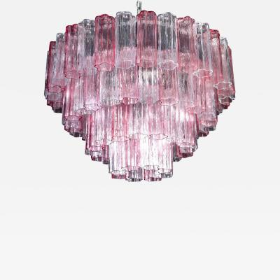 Pink and Ice Color Large Italian Murano Glass Tronchi Chandelier