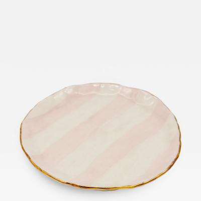 Pink and white Petit dish with gilding