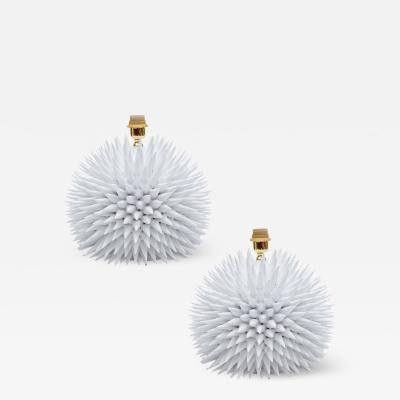 Pino Esposito Spikey White Pottery Lamps Handmade in Italy