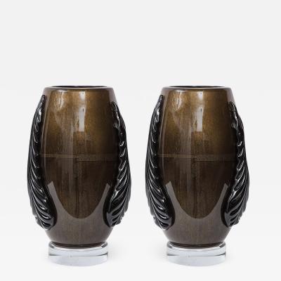 Pino Signoretto Black Gold Murano Glass Vases
