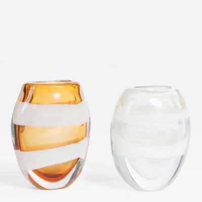 Pino Signoretto Italian Pair of Heavy Cognac Opalescent Murano Glass Vases Sign by P Signoretto