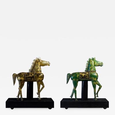 Pino Signoretto Pair of Giant Murano Glass Horses