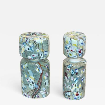 Pino Signoretto Pino Signoretto 1980s Pair of Silver Green Blue Yellow Red Murano Glass Bottles