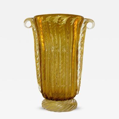 Pino Signoretto Pino Signoretto Romantic Italian Ribbed Murano Glass Vase Worked with Pure Gold