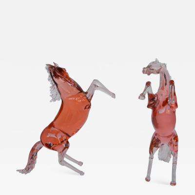 Pino Signoretto Set of Two Murano Glass Horses by Pino Signoretto