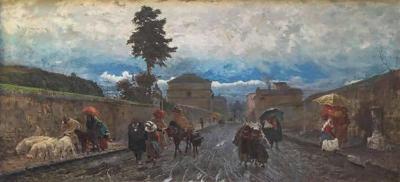 Pio Joris Painting Oil on Canvas by Pio Joris Important Italian Artist of the 19th century